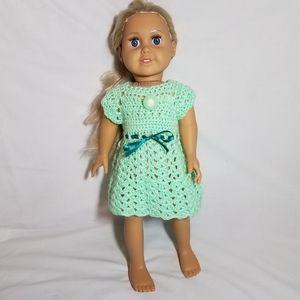 "Handmade American Girl 18"" Doll Mint Green Dress"